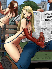 Cruel bikers captured blonde chick and her bf to satisfy their sexual needs. tags: naked girl, bdsm art, shaved pussy.