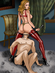 Blonde slave girl gets her ass whipped!