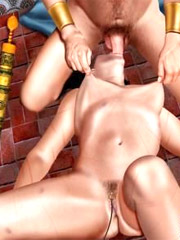 Collared brunette slave girl gets her pussy fucked hard from behind. tags: big boobs, bdsm art, naked girl.